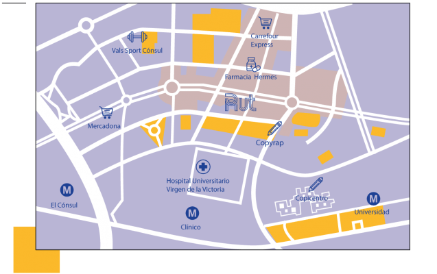 mapa de establecimientos cercanos a residencia universitaria en malaga, Rut