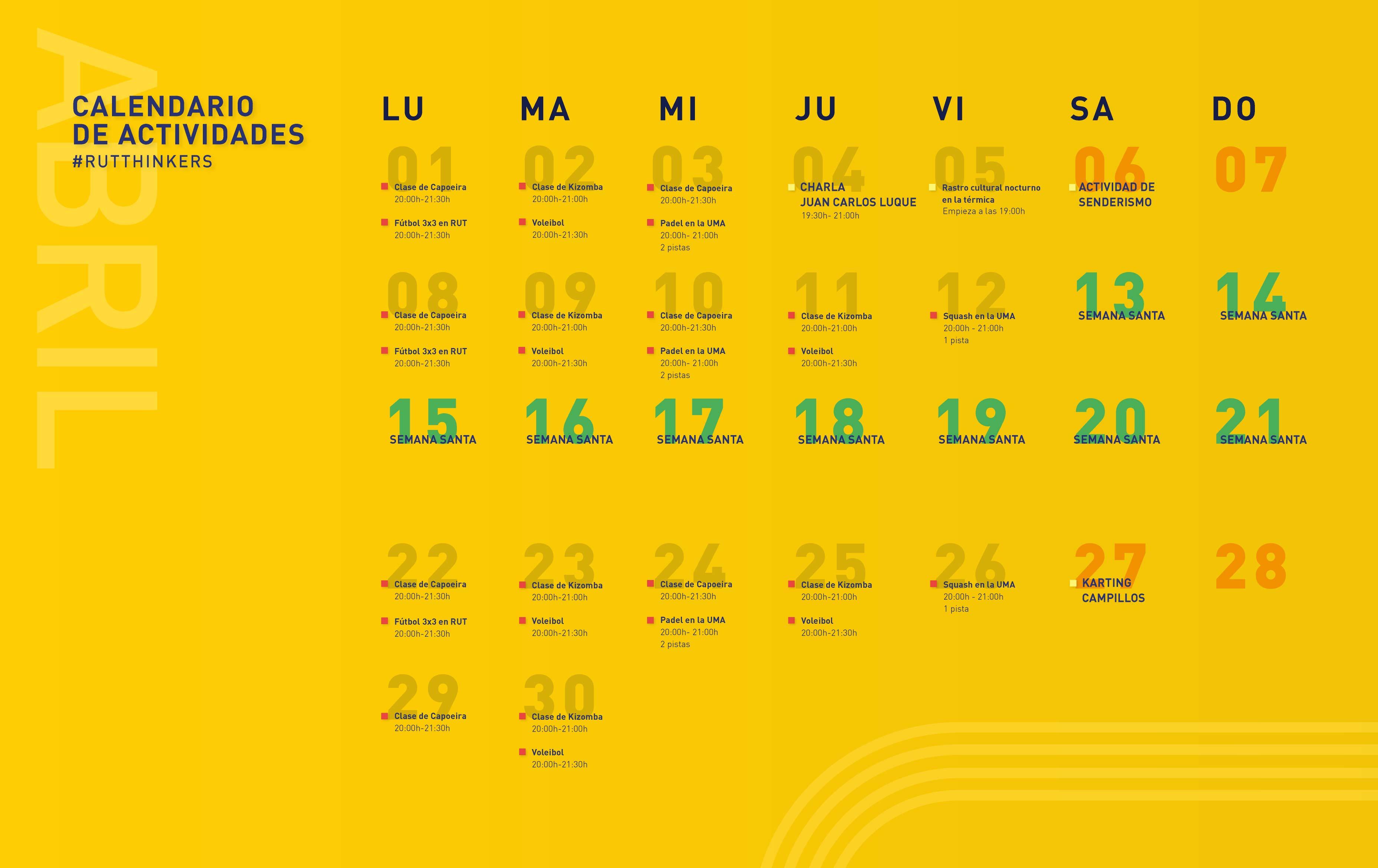 calendario de actividades abril, residencia universitaria en malaga, Rut