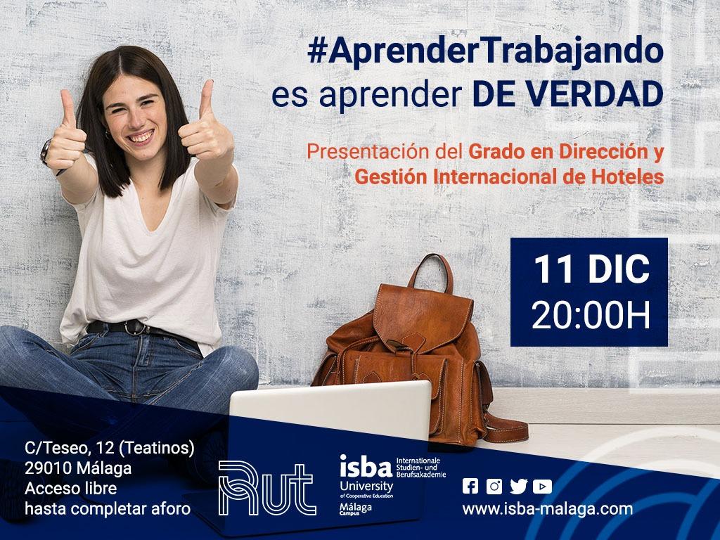cartel presentación grado dirección y gestión internacional de hoteles, residencia universitaria en malaga
